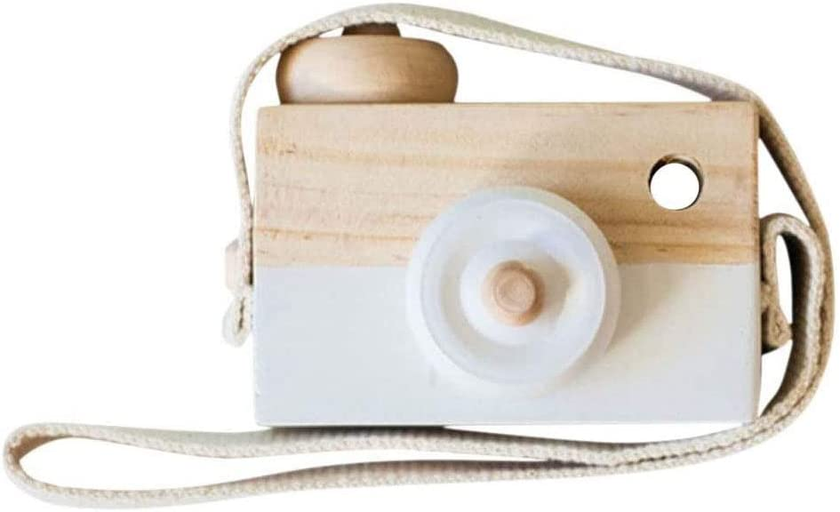 Booluee Kids Mini Wooden Camera Toy Fashion Neck Hanging Photographed Props with Rope Cute Wood Camera Toys for Kid's Room Hanging Decoration (White)
