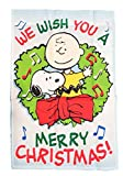 PEANUTS SNOOPY AND CHARLIE BROWN FLAG~WE WISH YOU A MERRY CHRISTMAS ~12