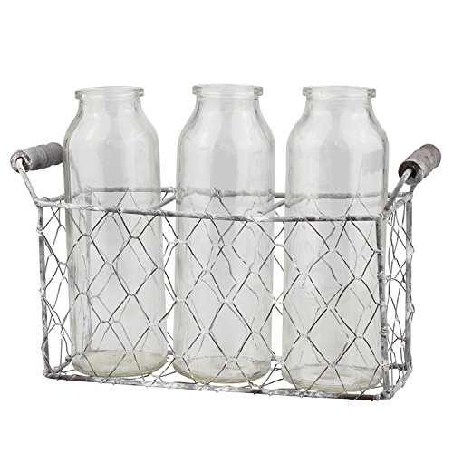 Stonebriar 3pc Milk Bottle Set, Clear (Stones Milk Glass)