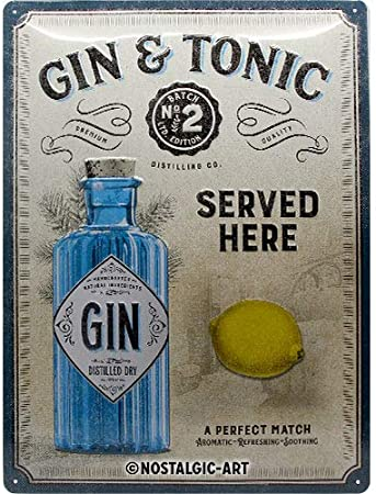 Gin cocktails small dangler Metal Sign Nostalgic Gift