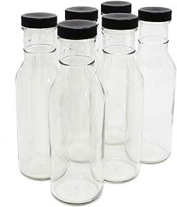 nicebottles Clear Glass Beverage/Sauce Bottles, 12 Oz, Black Caps - Case of 6