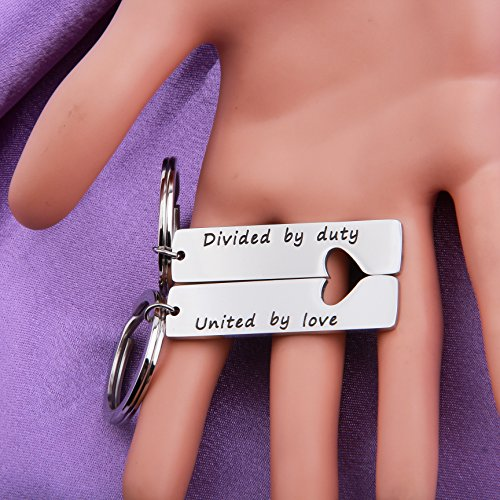 MAOFAED Military Matching Set Divided by Duty United by Love Heart  Keychains Military Wife Girlfriend Deployment Going Away Gift (United  Keychain)