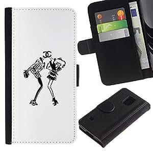 A-type (White Black Design Fashion Dress) Colorida Impresión Funda Cuero Monedero Caja Bolsa Cubierta Caja Piel Card Slots Para Samsung Galaxy S5 V SM-G900