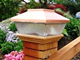 "Copper Top Solar LED Light 4"" x 4"" Post Caps for Bridges, Fences, Decks, & Posts"