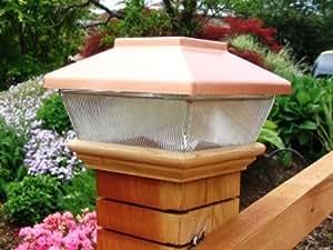 "Copper Top Solar LED Light 4"" x 4"" Post Caps for Bridges, Fences, Decks, & Posts"
