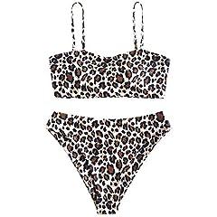 Product Details: Swimwear Type: Bikini Bikini Type: Bandeau Bikini, Convertible Bikini, High Cut Bikini Gender: For Women Material: Polyester, Spandex Bra Type: Padded Support Type: Wire Free Neckline: Spaghetti Straps Pattern Type: Leopard E...