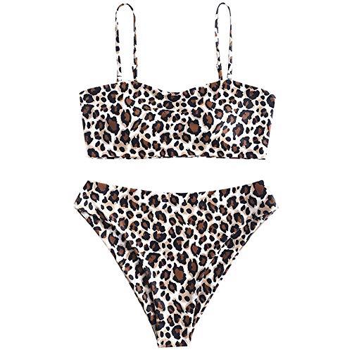 ZAFUL Women's Leopard Print High Cut Two Piece Swimsuit Bandeau Bikini Set (Leopard A, ()