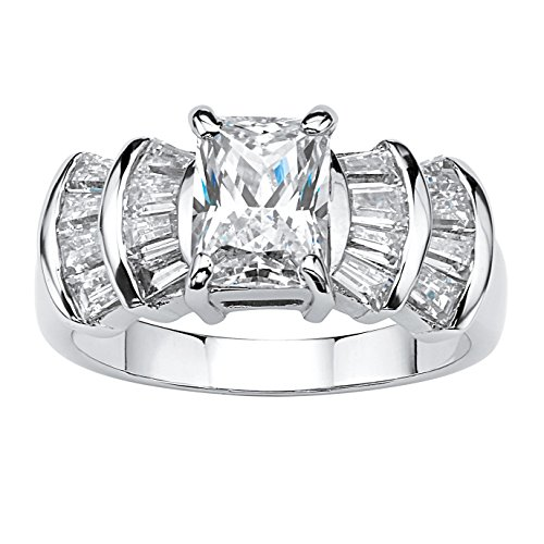 Platinum over Sterling Silver Emerald Cut Cubic Zirconia Step Top Engagement Ring Size 9 - Step Cut Cz Ring