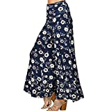 Bodycon4U Women's Floral Print High Waist Wide Leg Palazzo Pants Waist Elastic Loose Trouser Navy XL