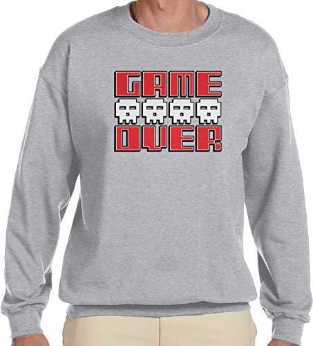 Amdesco Men's Game Over Crewneck Sweatshirt, Heather Gray Small
