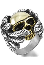 Men's Large Heavy Stainless Steel Ring Gold Silver Two Tone Black Skull Wing
