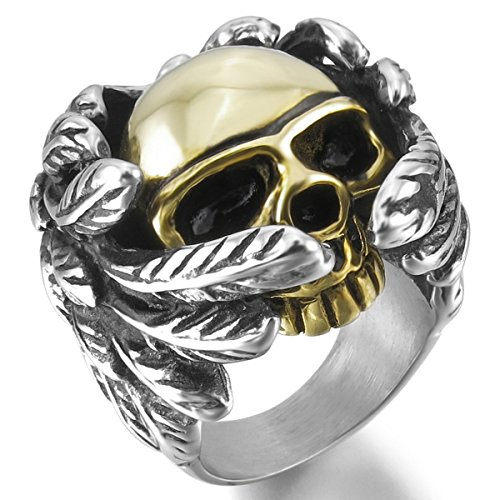 ss Steel Ring Silver Gold Tone Black Skull Wing Size7 ()