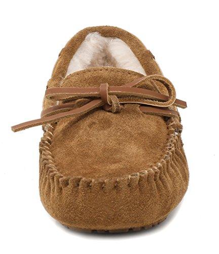 Sueño Pares Mujer Auzy Piel De Oveja Invierno Mocasines Zapatillas Chesnut-02
