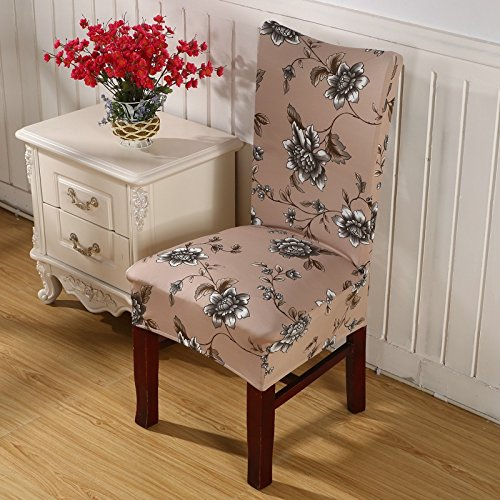 Singying Floral Print Letter Dining Chair Cover Spandex Elastic Anti-Dirty Slipcovers Stretch Removable Hotel Banquet Seat Case 15 Universal