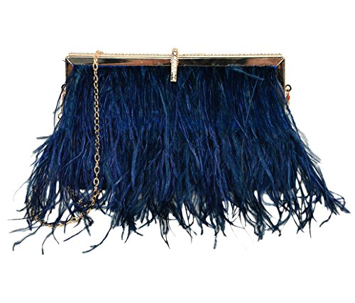 Zakia Real Natural Ostrich Feather Evening Clutch Shoulder Bag Party Bag (Navy-B)