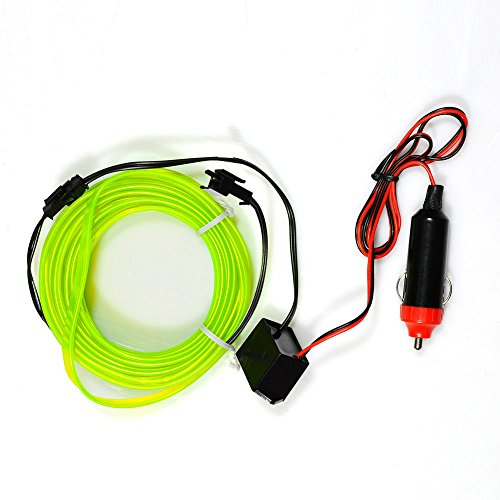 Lychee 6m/18ft Super bright Portable Glowing Neon Light El Wire belt tape strip w/ 12V Cigarette car kit For Vehicle,Automotive interior atmosphere Led lights decoration. (6m, Green) - 18 Bright Wire