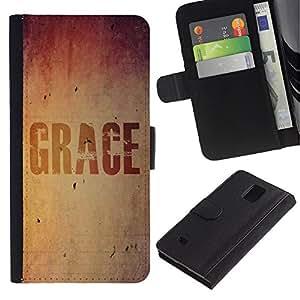 All Phone Most Case / Oferta Especial Cáscara Funda de cuero Monedero Cubierta de proteccion Caso / Wallet Case for Samsung Galaxy Note 4 IV // BIBLE Grace