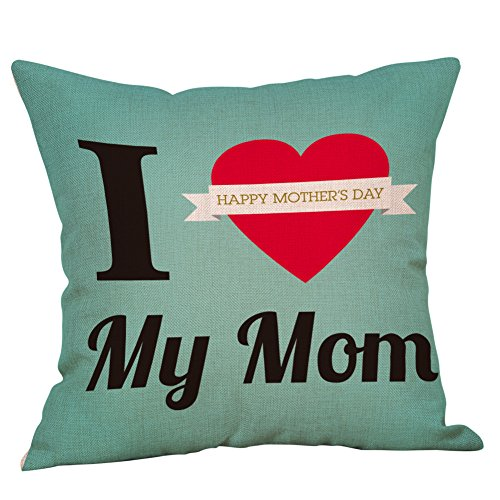Littay Pillowcase 17inch x 17inch,Mother's Day Pillowcase Linen Car Home Decorative Cushion Cover Pillow Covers