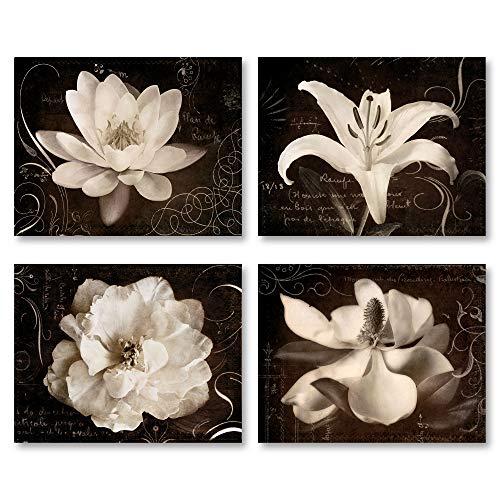 Gango Home Décor Garden Journal I Beautiful Sepia White Flowers Against a Script Backdrop; Floral Decor; Four 14X11 Poster Prints from Gango Home Décor