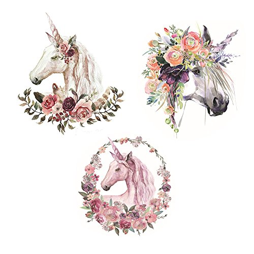 Large Unicorns Printing Heat Transfer Sticker Patch Household Irons DIY Decor Motif Appliqued for T-shirt Jeans Coats Totes Hoodie, Pack of 3