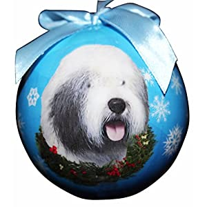 """""""Old English Sheepdog Christmas Ornament"""" Shatter Proof Ball Easy To Personalize A Perfect Gift For Old English Sheepdog Lovers 50"""