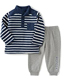 Baby Boys' 2 Piece Striped Fleece Top and Pant Set
