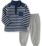 Tommy Hilfiger Baby Boys' 2 Piece Striped Fleece Top and Pant Set, Navy, 3-6 Months
