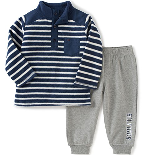 836bf45d2df3 Tommy Hilfiger Baby Boys  2 Piece Striped Fleece Top and Pant Set ...
