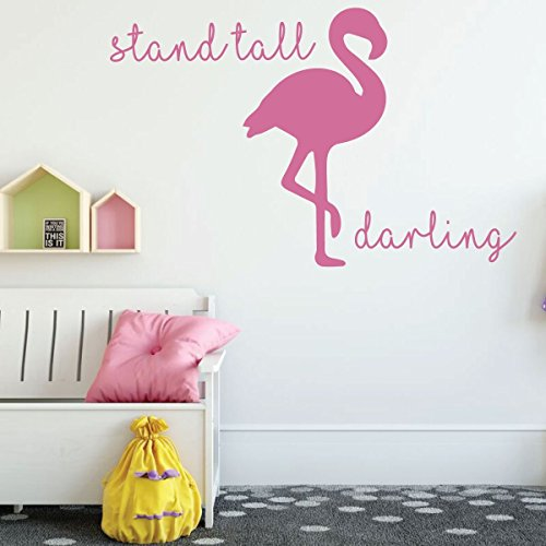 Girls Room Wall Decor - Stand Tall Darling with Flamingo Silhouette - Children Vinyl Decal Decoration for Bedroom or Playroom (Flamingo Silhouette)