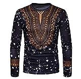 Doufine Mens African Print Dashiki Slim Folk Style Tops Fashion T Shirts Black S