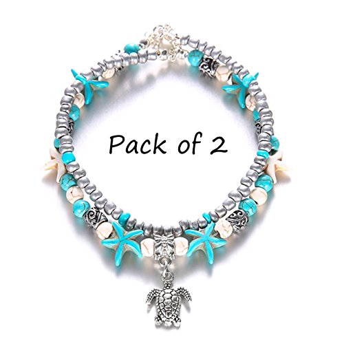 Unicra Turquoise Tortoise Anklet Chain Vintage Silver Ankle Bracelet Buddha Foot Jewelry Summer Barefoot Beach Anklet
