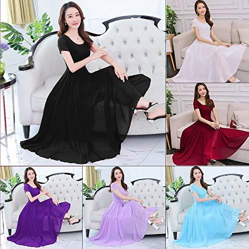 ZHNA Summer Women Chiffon A Line Scoop Neck Draped Ball Gown Long Party Beach Dress (Purple,4XL)