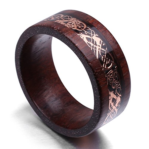 King Will DRAGON Exclusive Design 8mm Sandalwood Inlay Rose Gold Celtic Wedding Engagement Ring Band Comfort fit(11.5) by King Will (Image #1)