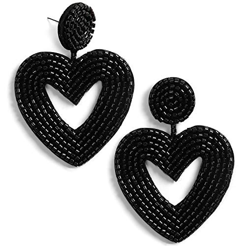 Statement Beaded Drop Earrings Bohemian Handmade Love Heart Drop Dangle Earrings Studs Gifts for Women Girls (Black) ()