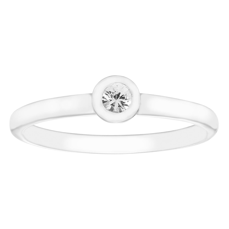 14K White Gold Round Genuine White Sapphire Family Birthstone Bezel Set Stackable Band Ring (.15 Tgw.)