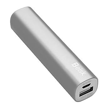 BSK-9003 PowerBank,Cargador Móvil Portátil,Batería Externa compacta de 2600mAh para iPhone X 8 7 6 Plus, iPad, Android(Plata)