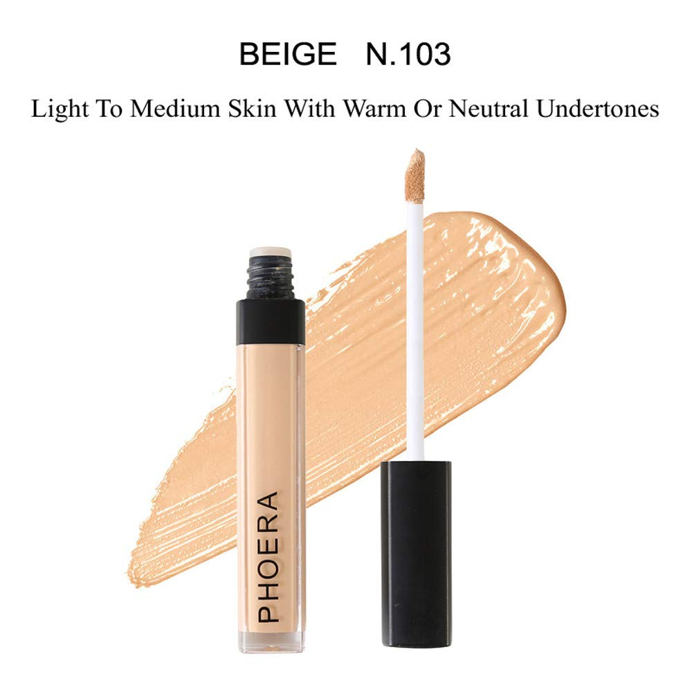 Concealer for Women Makeup,PHOERA High Definition Foundation Smooth Concealer Liquid Moisturizer Conceal Yamally (20ML, 103)