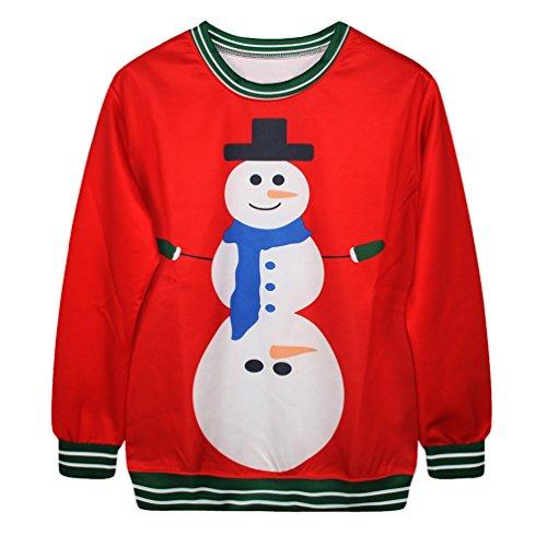 NiSeng Sudadera Navidad Sweatshirt de manga larga Xmas impresión Sweater Pullover Regalos navideña para Mujer Hombre Style 11