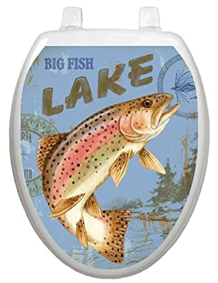 Toilet Tattoos, Toilet Seat Cover Decal, Lake Fishing,Size Elongated