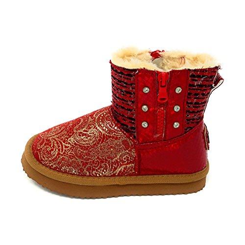 JT Mädchen Boots Kinder Winterfellstiefel Zip Schlupfstiefel Schnee gefüttert 31-36 Rot