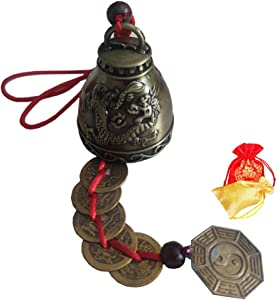 ZeeStar Bless Vintage Feng Shui Bell Elephant Buddha Statue Pisces Peacock with Five Emperor Money Wind Chimes Feng Shui Element for Home Garden Good Luck