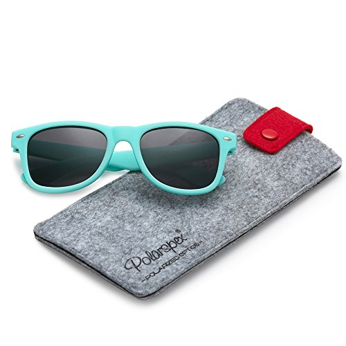 POLARSPEX KIDS CHILDREN BOYS GIRLS POLARIZED SOFT TEXTURE AQUA TEAL - Teal Wayfarer Sunglasses