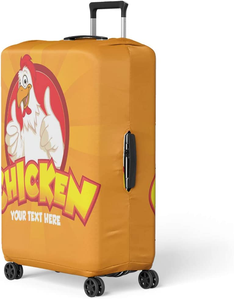Pinbeam Luggage Cover Happy Funny Cartoon Rooster Chicken Giving Thumbs Up Travel Suitcase Cover Protector Baggage Case Fits 18-22 inches