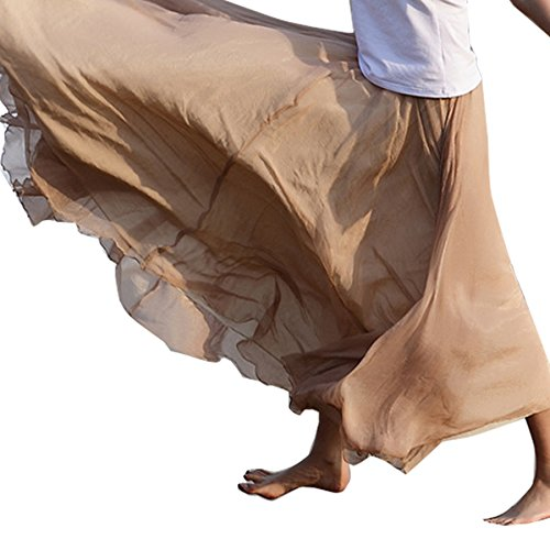 Chiffon Maxi Skirt, Women's Bohemian Casual Pleated Tiered Maxi Long Summer Beach Skirt