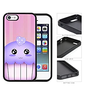 Kawaii Cupcake And Pink Vertical Stripes Rubber Silicone TPU Cell Phone Case Apple iPhone 5 5s