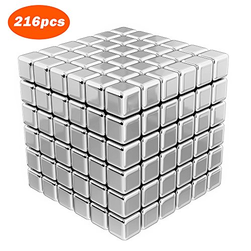 Ohequbao Magnetic Cube Puzzle 5mm, 216pcs Square Magic Cubes Building Block Educational Toys Stress Relief and Develops Intelligence Magnets Cube Toys for Office School Home DIY Desktop Deco (5mm)