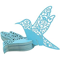 50 Pcs Delicate Hollow Birds Wedding Table Mark Wine Glass Name Place Cards (Blue)