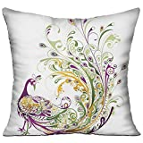 HAIXIA Square Cushion Covers for Sofa Decor 18'' X 18''inch Double Side Print The Peacock Advances His Tail by Opening His Tail to The Opposite Sex