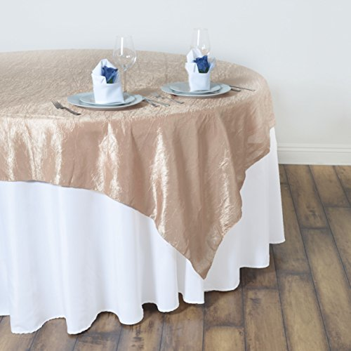 BalsaCircle 60x60-Inch Champagne Taffeta Table Overlays - Wedding Reception Party Catering Table Linens Decorations