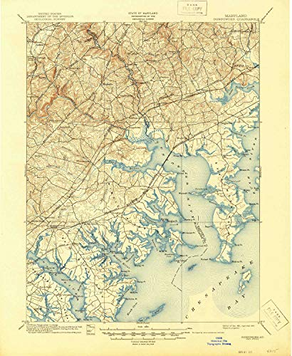 YellowMaps Gunpowder MD topo map, 1:62500 Scale, 15 X 15 Minute, Historical, 1901, Updated 1945, 20.8 x 17 in - Tyvek